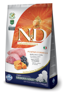 N&D Grain Free Pumpkin Puppy M/L Lamb & Blueberry 12 kg