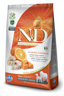 N&D Grain Free Pumpkin Adult M/L Codfish & Orange 12 kg