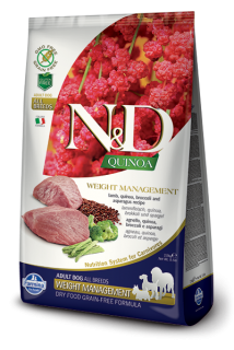 N&D GF Quinoa DOG Weight Mnmgnt Lamb & Broccoli 7kg
