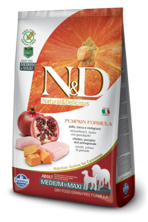 N&D Grain Free Pumpkin Adult M/L Chicken & Pomegranate 2,5kg