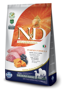 N&D Grain Free Pumpkin Adult M/L Lamb & Blueberry 2,5 kg
