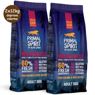 Primal Spirit Dog 60% Wilderness 2x12kg